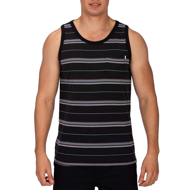 noir XL Hurley M Dri-fit Harvey Stripe Pocket Tank - Débardeurs - Homme