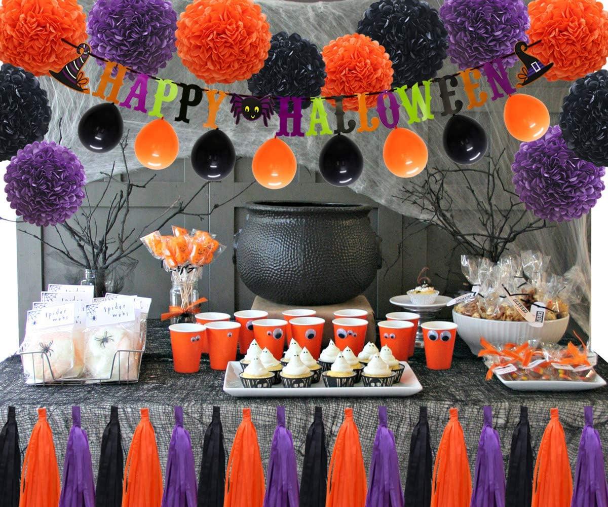 Halloween Light Up Black Gauze Garland 30 Violet Orange Lumières DEL//Prop//Parti