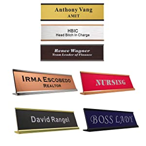 "Personalized Name Plate with Wall or Desk Holder 2"" x 8"" Customize Engraving Office Wall NamePlates with Holder"