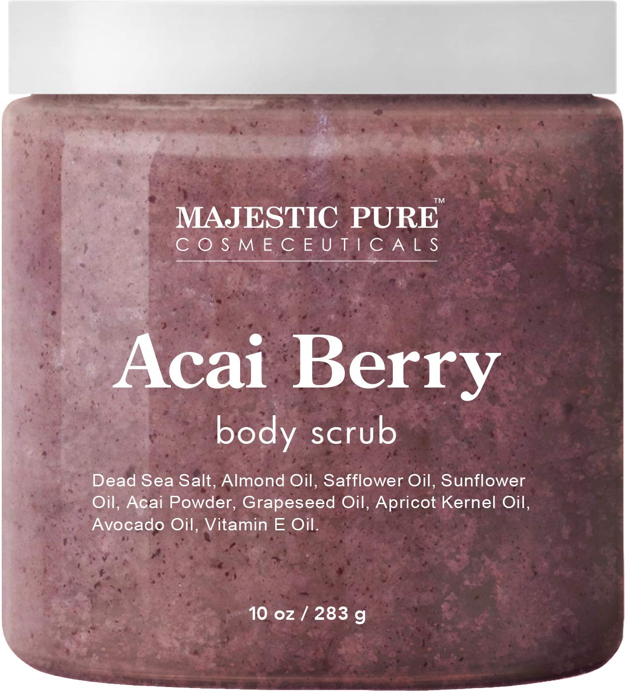 Majestic Pure Acai Berry Body Scrub - All Natural, Exfoliates, Moisturizes, and Nourishes Skin - Reduces the Appearance of Cellulite - 10 oz by Majestic Pure