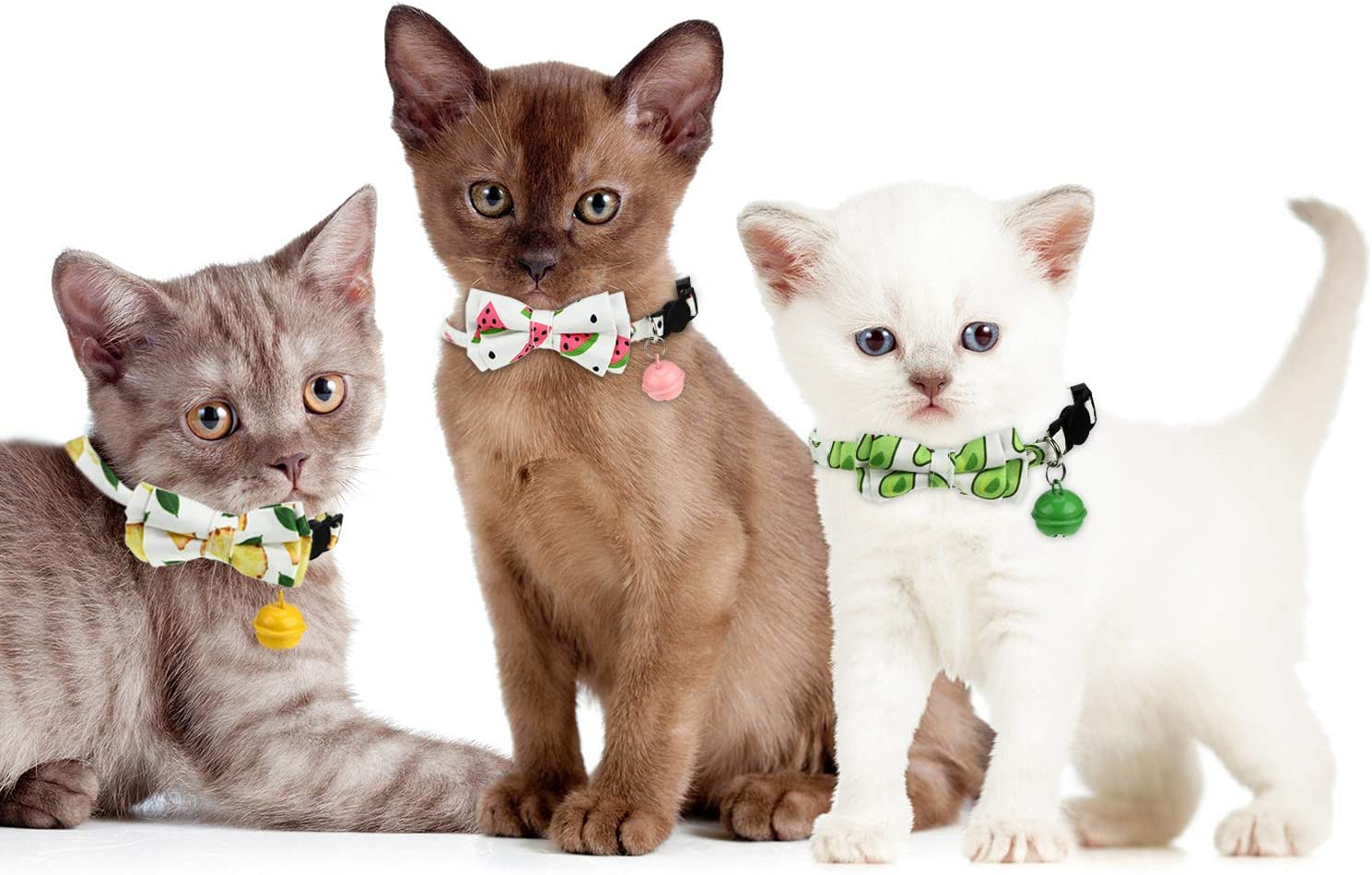 Frienda 3 Piezas de Collar de Gato con Clip de Separaci/ón y Campana Ajustable de Cuello Collar de Gato con Estampado de Pi/ña y Aguacate con Sand/ía para Gatitos y Cachorros