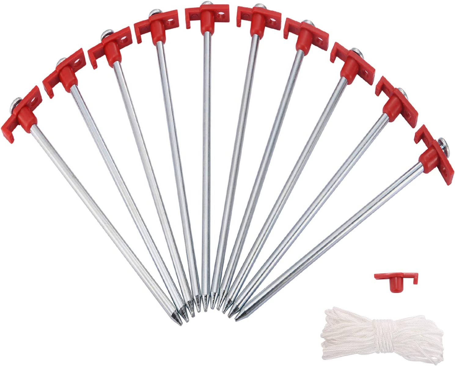 Galvanized Non-Rust Stakes Pegs for Pop Up Canopy Camping Tent 10 Pcs Tent Stakes with 4Pcs 10ft Ropes /& 1 PVC Top Hiking Bonus 4 Ropes 10FT Length