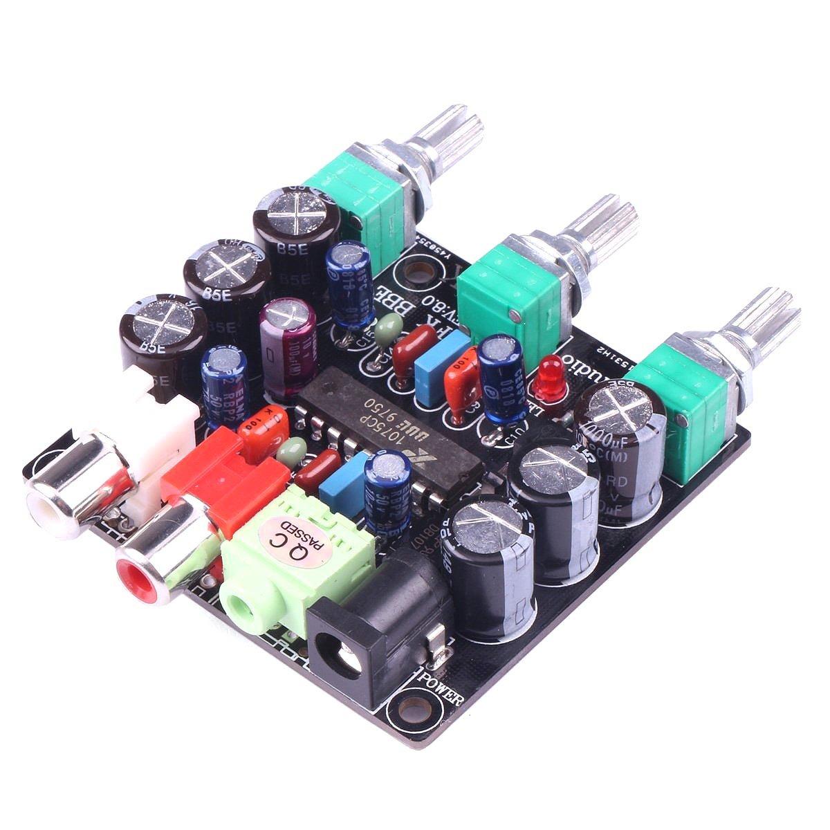 DollaTek Módulo de Ajuste Mini XR1075 BBE Tono CC 10-26V / 9-20V AC Fuente de alimentación de Graves/Agudos / Control de Volumen de 2 Canales para CDs ...