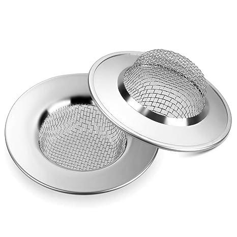 Anpro Filtro de Fregadero de Acero Inoxidable,7.7 CM,Set de 2 Piezas,Adecuado para Tocador de Baño,Fregadero de Cocina,Residuos de Filtro y Evitar el ...