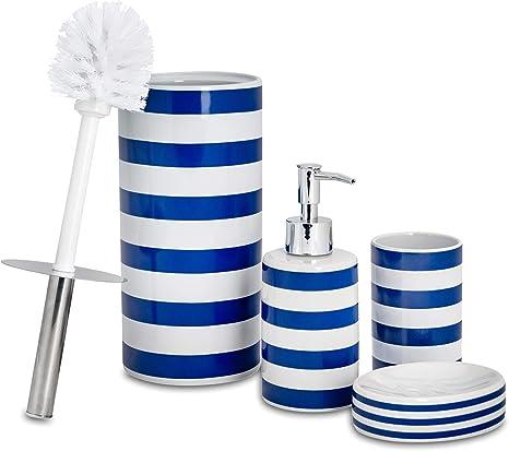 Amazon Com Harbour Housewares 4 Piece Bathroom Accessories Set Soap Dispenser Dish Toothbrush Holder Toilet Brush Navy Stripe Home Kitchen