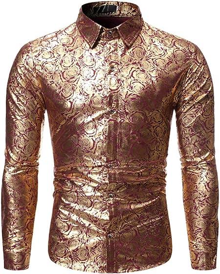 LISILI Camisas De Manga Larga para Hombre Club Nocturno Rosa Oro Brillante De Flores Impreso Ajustado Abotonar Camisa De Vestir para Fiesta/Baile De Graduación,Rojo,S: Amazon.es: Hogar