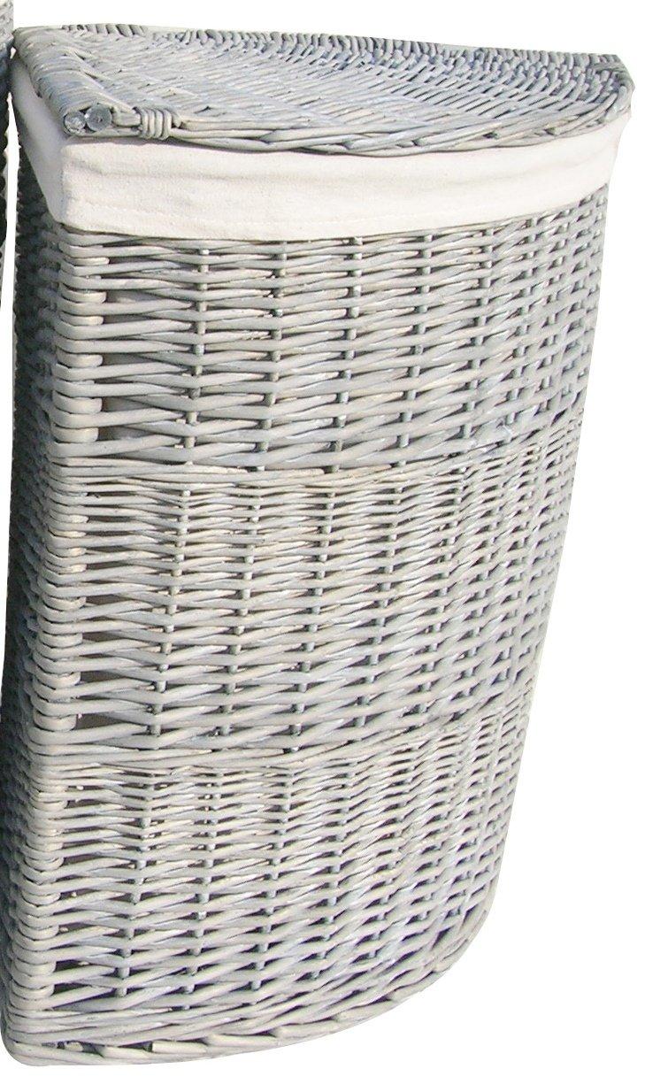 Grau gewaschen Weidengeflecht Ecke Wäschekorb groß klein Deckel