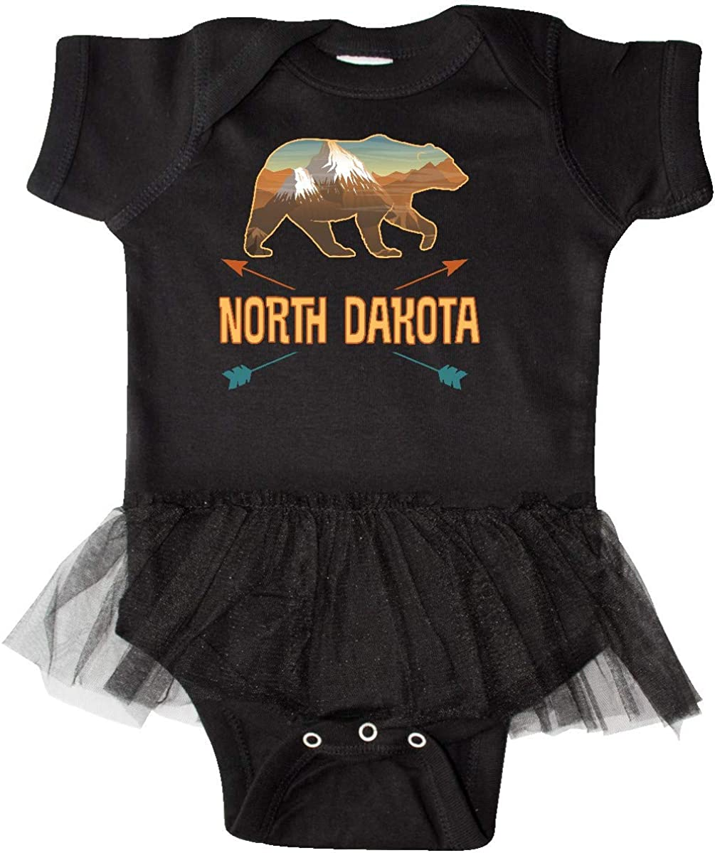 inktastic North Dakota Vacation Bear Silhouette Infant Tutu Bodysuit