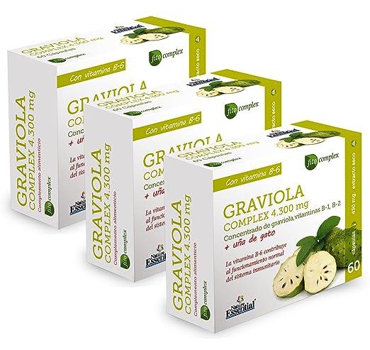 Graviola (Complex) 4.300 mg - Con graviola, uña de gato, vitamina B-1, vitamina B-2 y vitamina B-6-60 Capsulas (3 Unidades): Amazon.es: Salud y cuidado ...