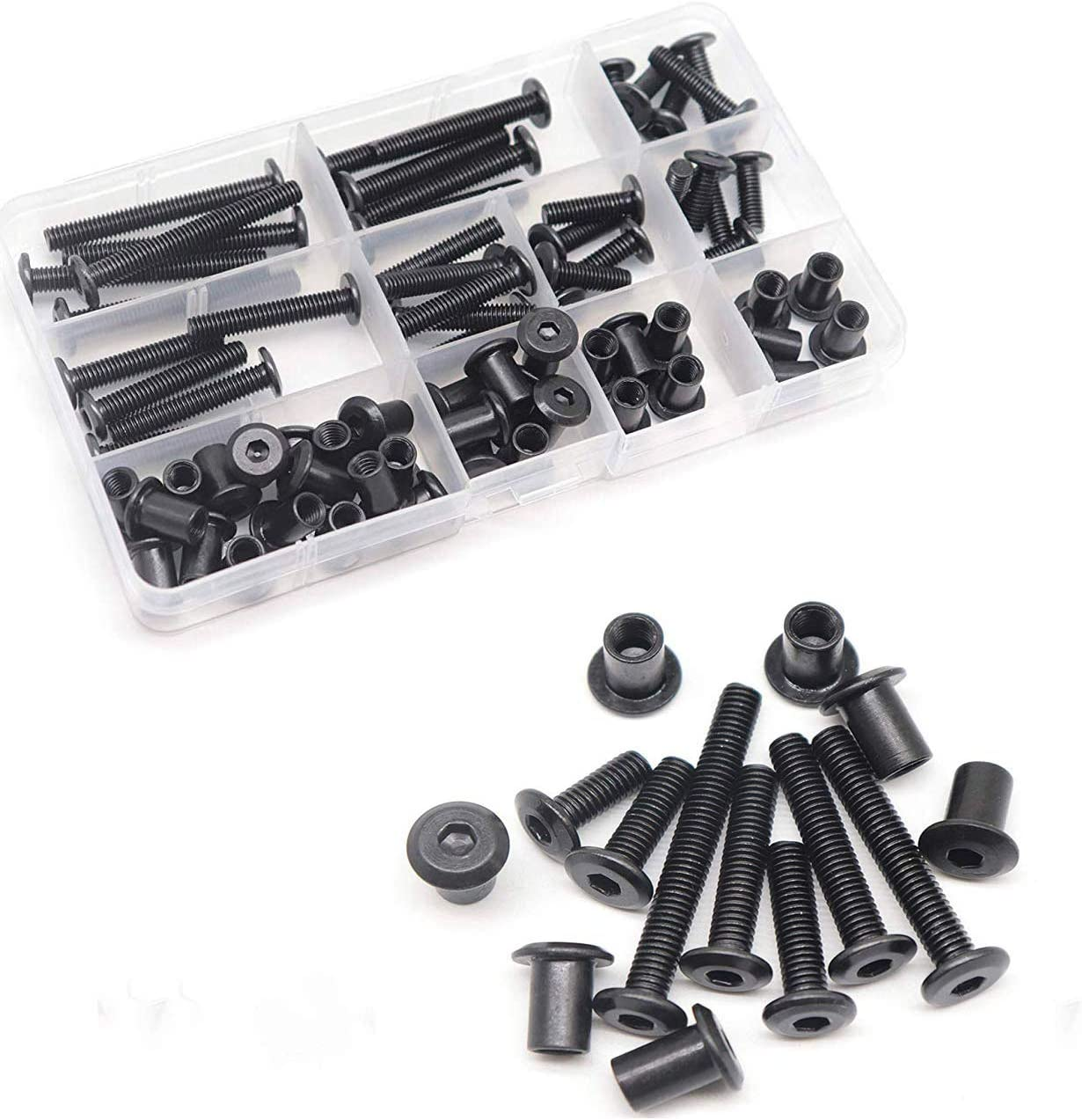 FPVKing 35-Set M6 Hex Drive Socket Cap Bolts Kit, Black Socket Cap Screws Barrel Bolts Nuts Kit for Furniture Bed Crib, M6x15mm/ 20mm/ 25mm/ 30mm/ 35mm/ 40mm/ 50mm