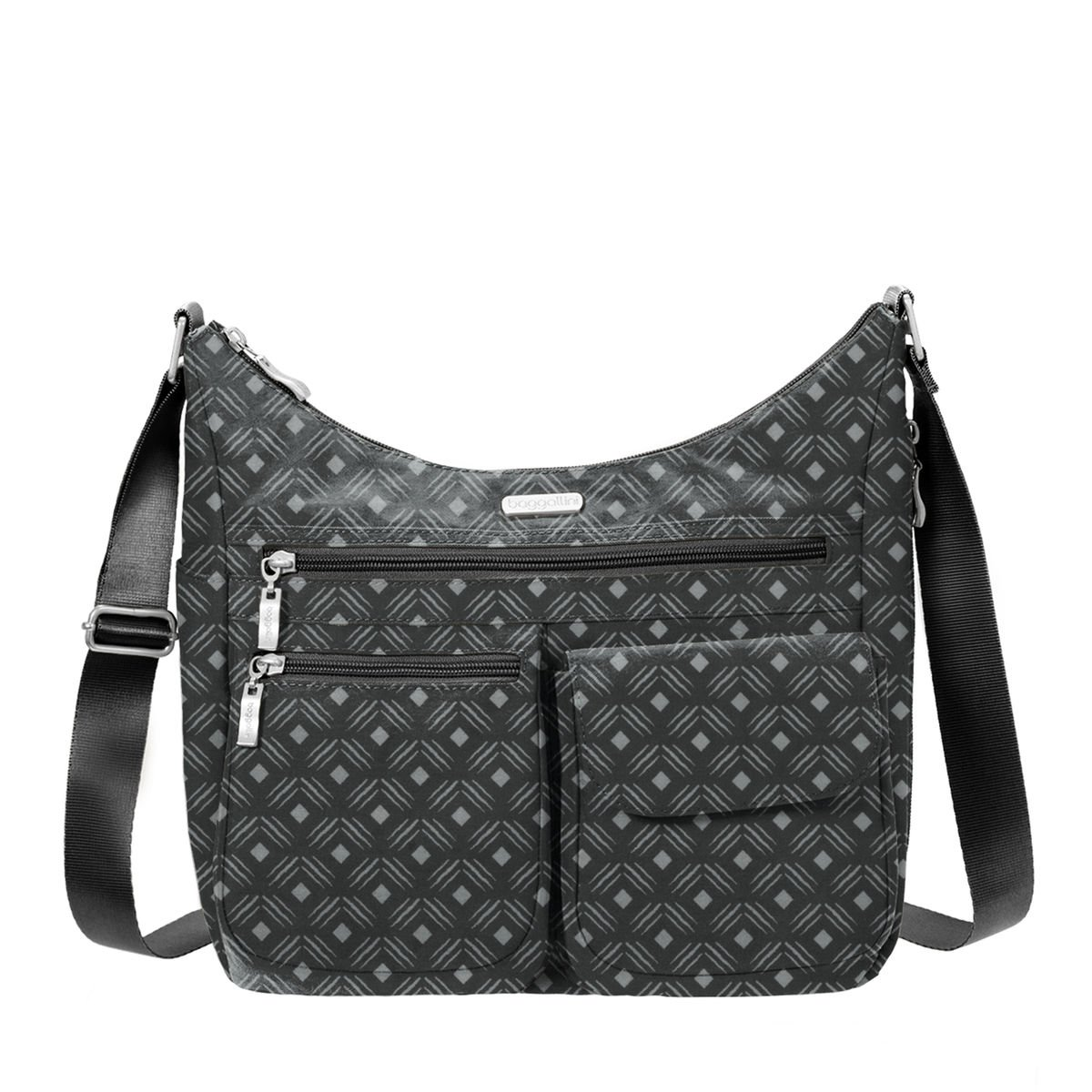 Baggallini Everywhere Travel Crossbody Bag, Black Diamond
