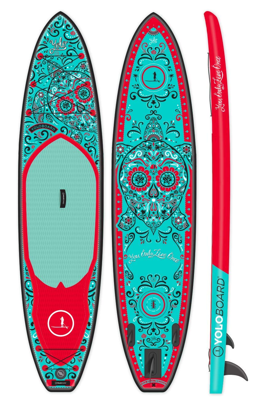 YOLO Board 12 Inflatable Stand Up Paddle Board 6 Thick Package Includes Adjustable Travel Paddle, Carrying Bag, Pump