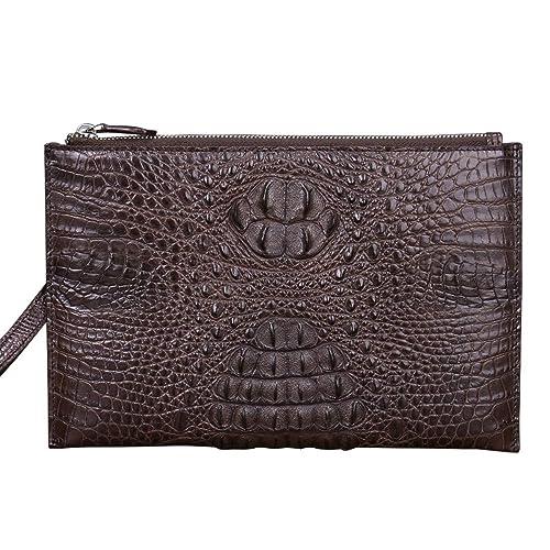 KuanDar Cartera para hombres, piel de cocodrilo, bolso de gran capacidad y versatilidad(Marrón): Amazon.es: Zapatos y complementos