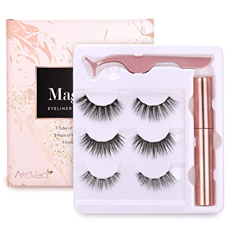 Magnetic Eyeliner and Magnetic Eyelash Kit – Eyelashes With Natural Look – Magnetic Eyelashes with Eyeliner Comes With Applicator, No Glue Needed 3 Pairs