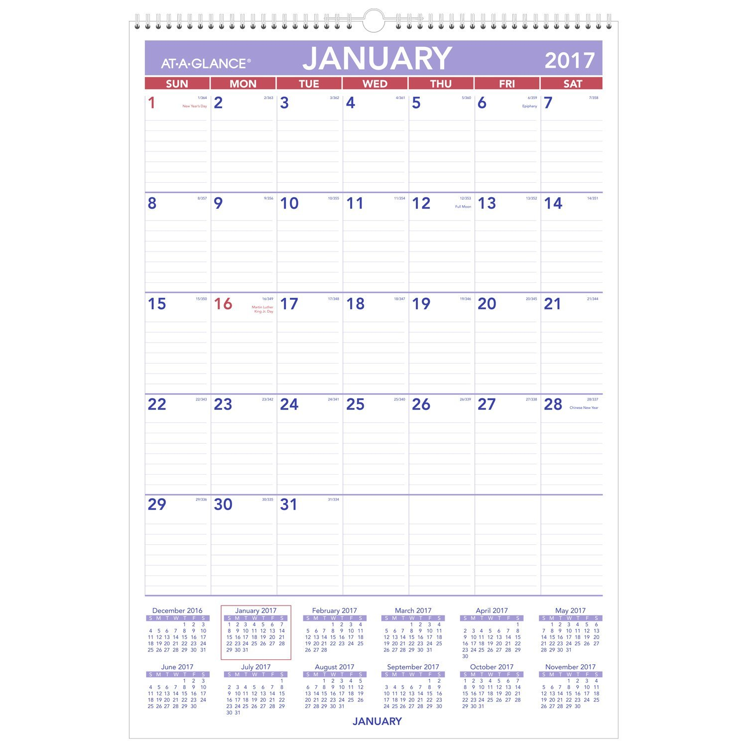 amazon com at a glance wall calendar 2017 monthly 15 1 2 x 22 3