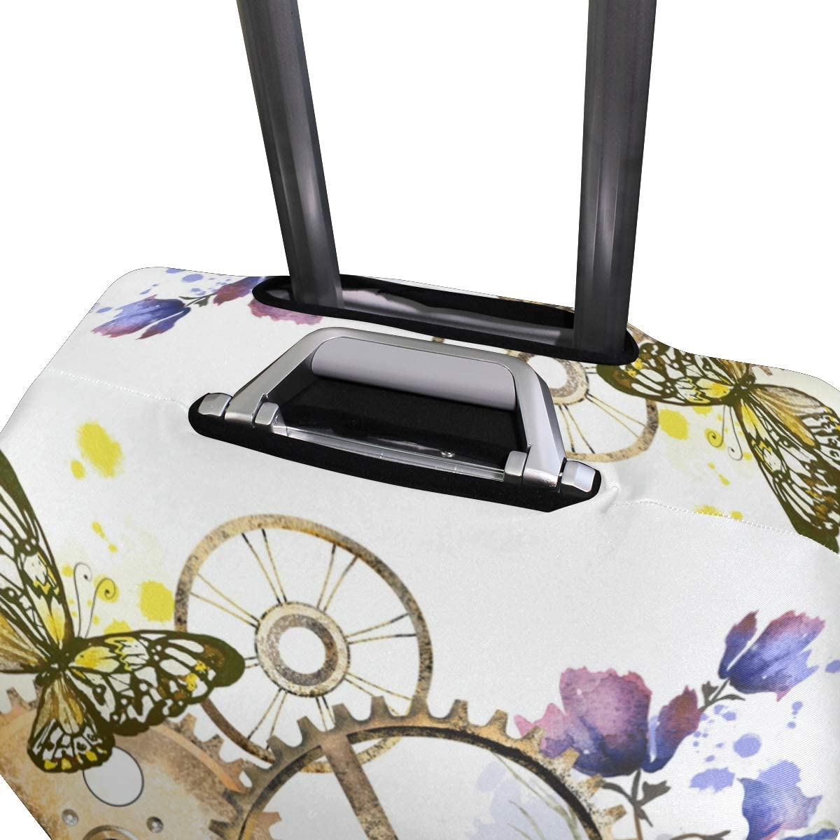 FOLPPLY Retro Butterly Clockworks Punk Floral Luggage Cover Baggage Suitcase Travel Protector Fit for 18-32 Inch