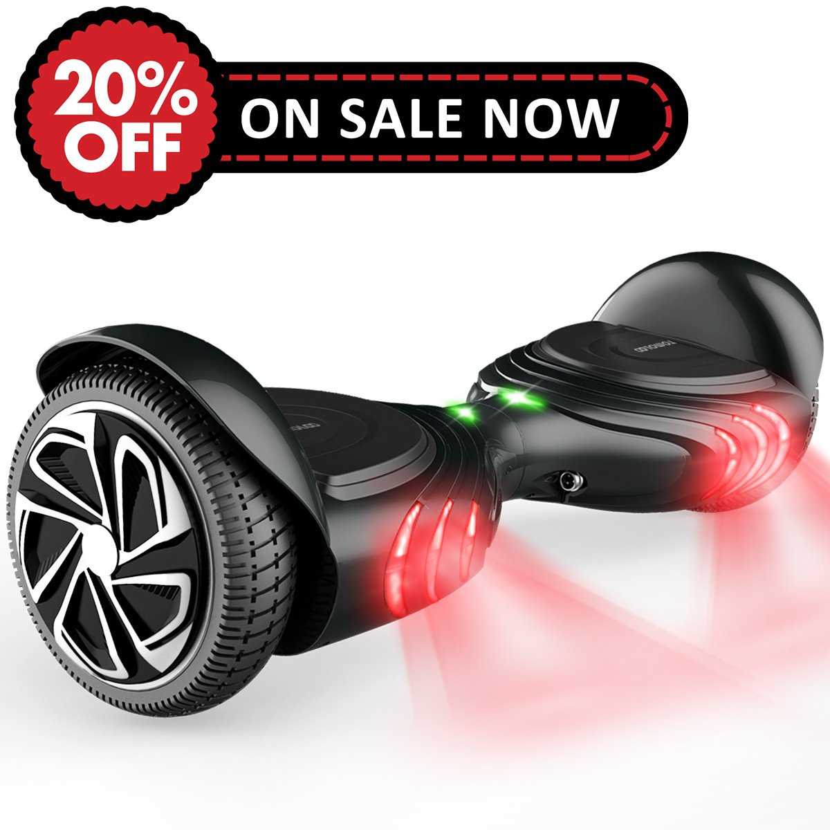 TOMOLOO Hoverboard with Smart Scooter Two-Wheel Self Balancing Electric Scooter and No Bluetooth No App with UL2272 Certified for Adults and Children. (Q2-BLACK) by TOMOLOO