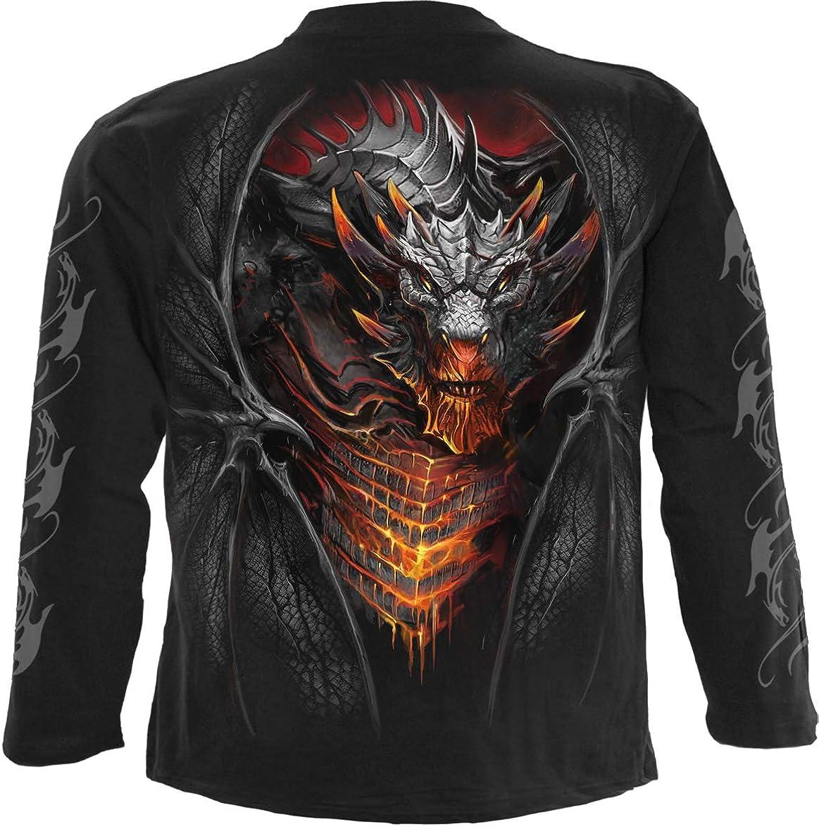Spiral Draconis Marchandises sous Licence Officielle Rockwear T-Shirt /à Manches Longues en Coton Noir