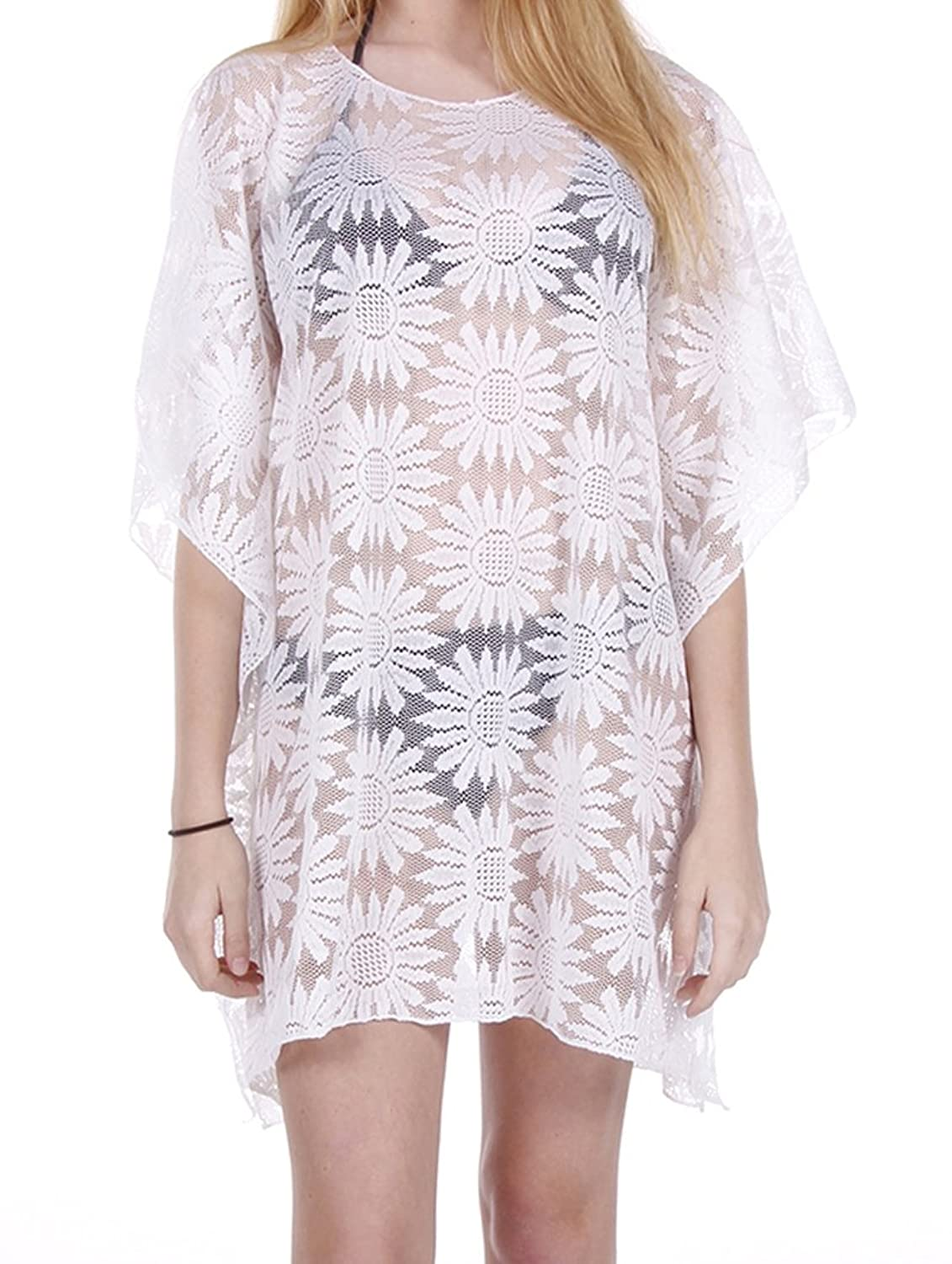 Parisian Chic Scarf Floral Pattern Lace Sheer Coverup Poncho One Size Swimwear White