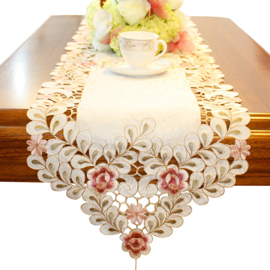 Pink flower embroidered hemstitch easter table runner tapestry 84 inch approx