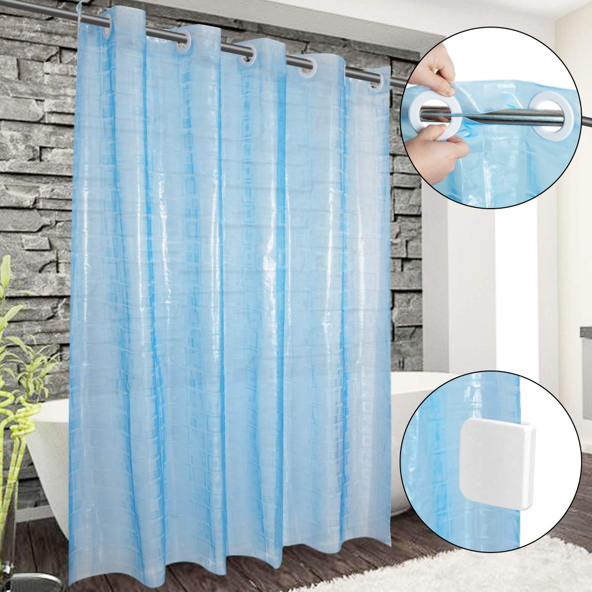 Ringless Shower Curtain, Hookless Waterproof Blue Shower Curtain Liner Long PEVA Shower Curtain with Shower Curtain Splash Clips for Bathroom Hotel Spa,72x74 Inch,- Machine Washable