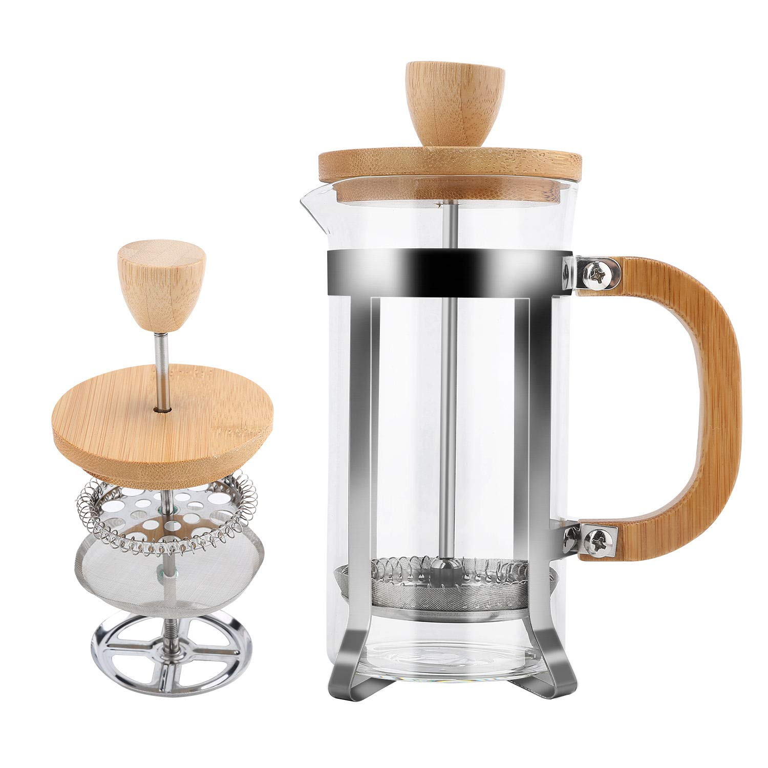 French Press Coffee and Tea Maker by Pour (350ml, 12 oz), Milk Frother with Bamboo Handle 18/8 Heat Resistant Stainless Steel Filter, Thick Borosilicate Glass, Easy to Clean by YIDADA