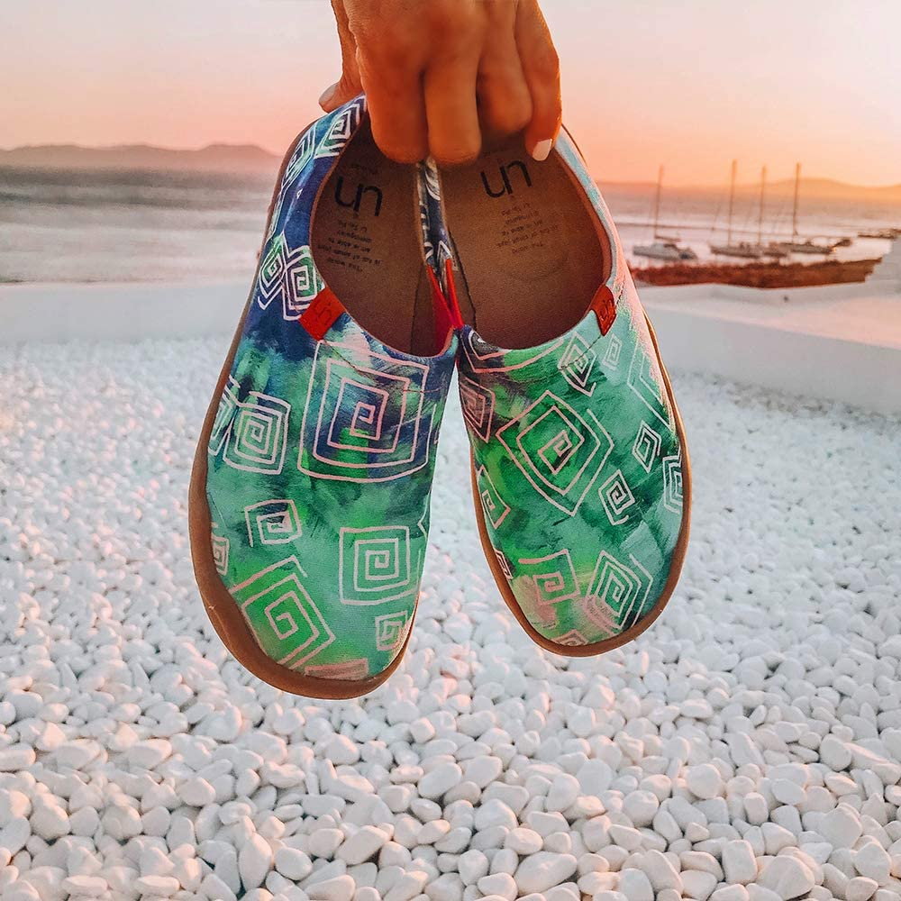 UIN Scarpe Espadrillas Casual Slip on Mocassini Donna estive Art dipinte Colorate Basse Sneakers Tela da Passeggio Love In Spring