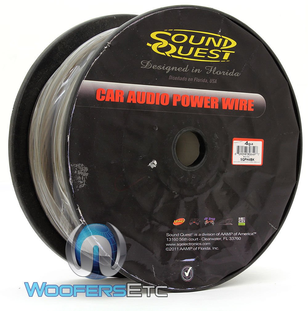 SQPH4BK - Soundquest 4 GA 100 Feet Power Wire Matte Black by SOUNDQUEST