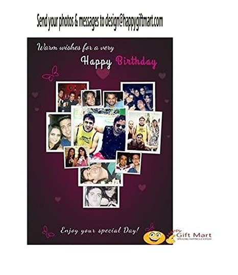 Happy GiftMart Personalized Birthday Greeting Card Add Your Own Photo Message Amazonin Office Products
