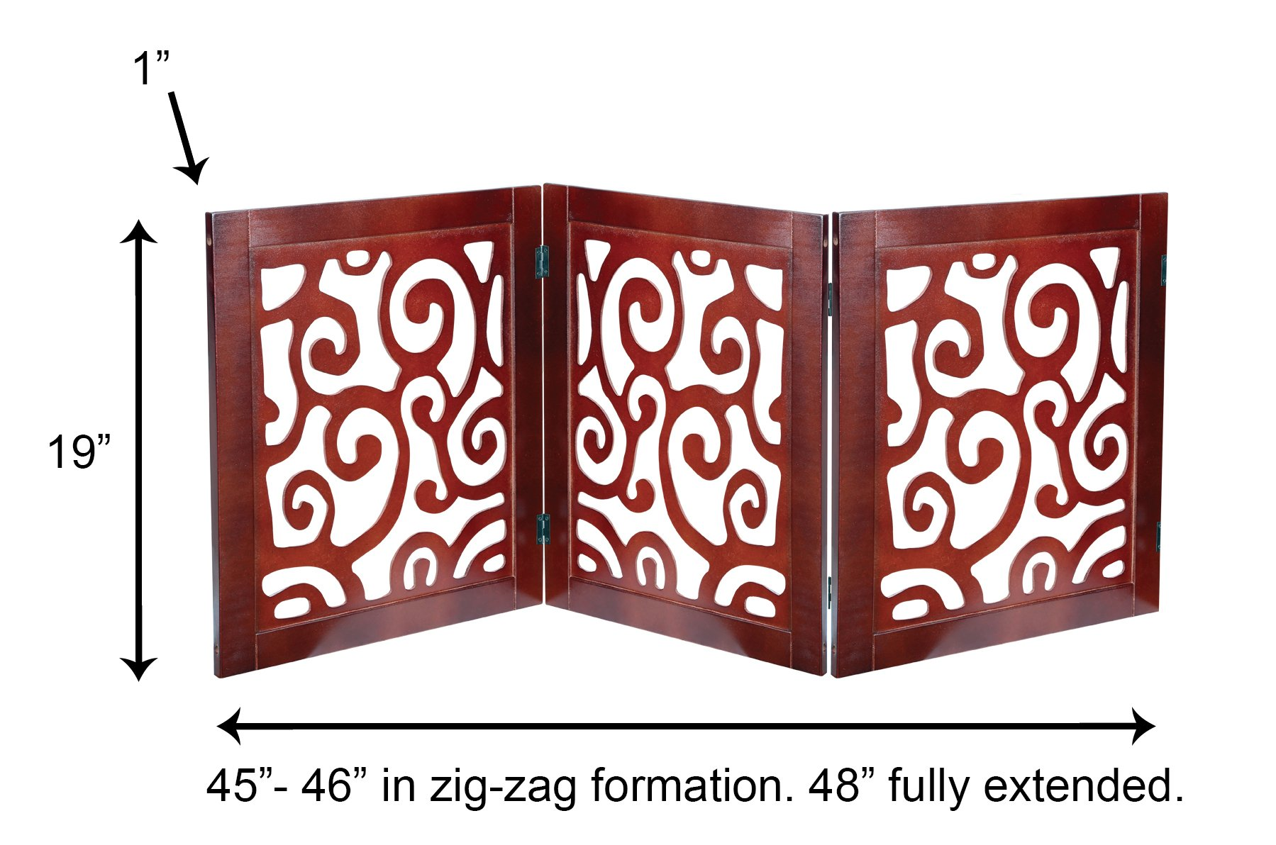 Safety Pet Gate for Dogs – Free-Standing & Foldable - Decorative Scroll Wooden Fence Barrier – Stairs & Doorways