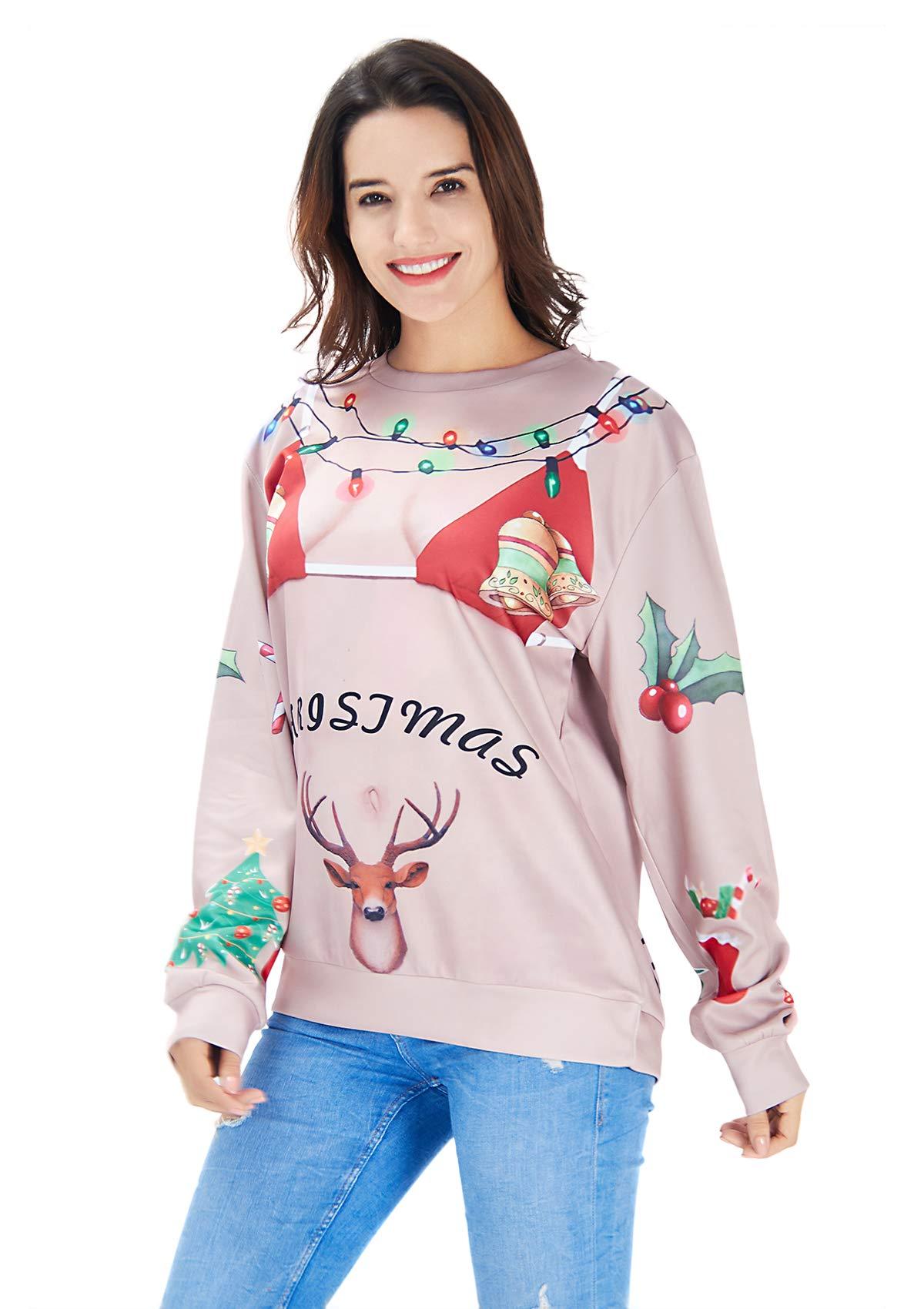 RAISEVERN Santa 3D lustige Bikinis Drucken hässlich Christmas Sweater Lange Ärmel Pullover Tops für Teens