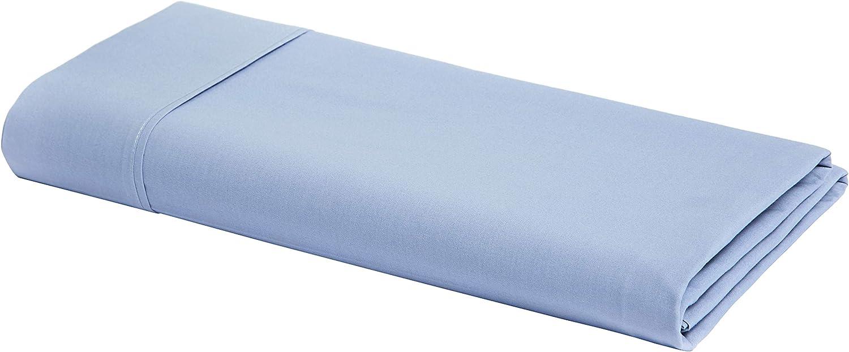 AmazonBasics Ultra-Soft Cotton Flat Sheet - King, Dusty Blue