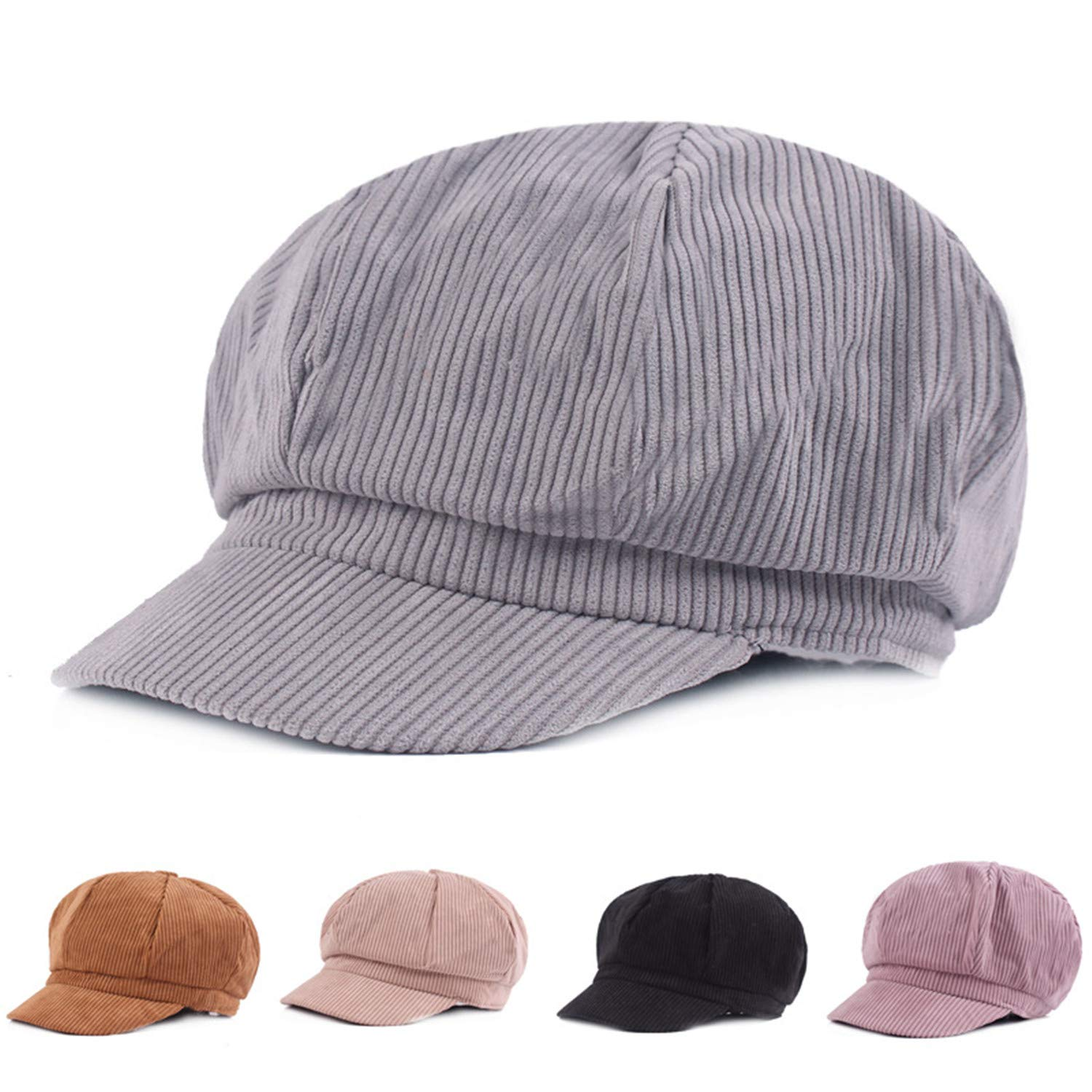Yulongo Female Spring Art Octagonal Hat Fashion Women Vintage Beret Cap Flat Peaked Hat Striped Beret Retro British Hat