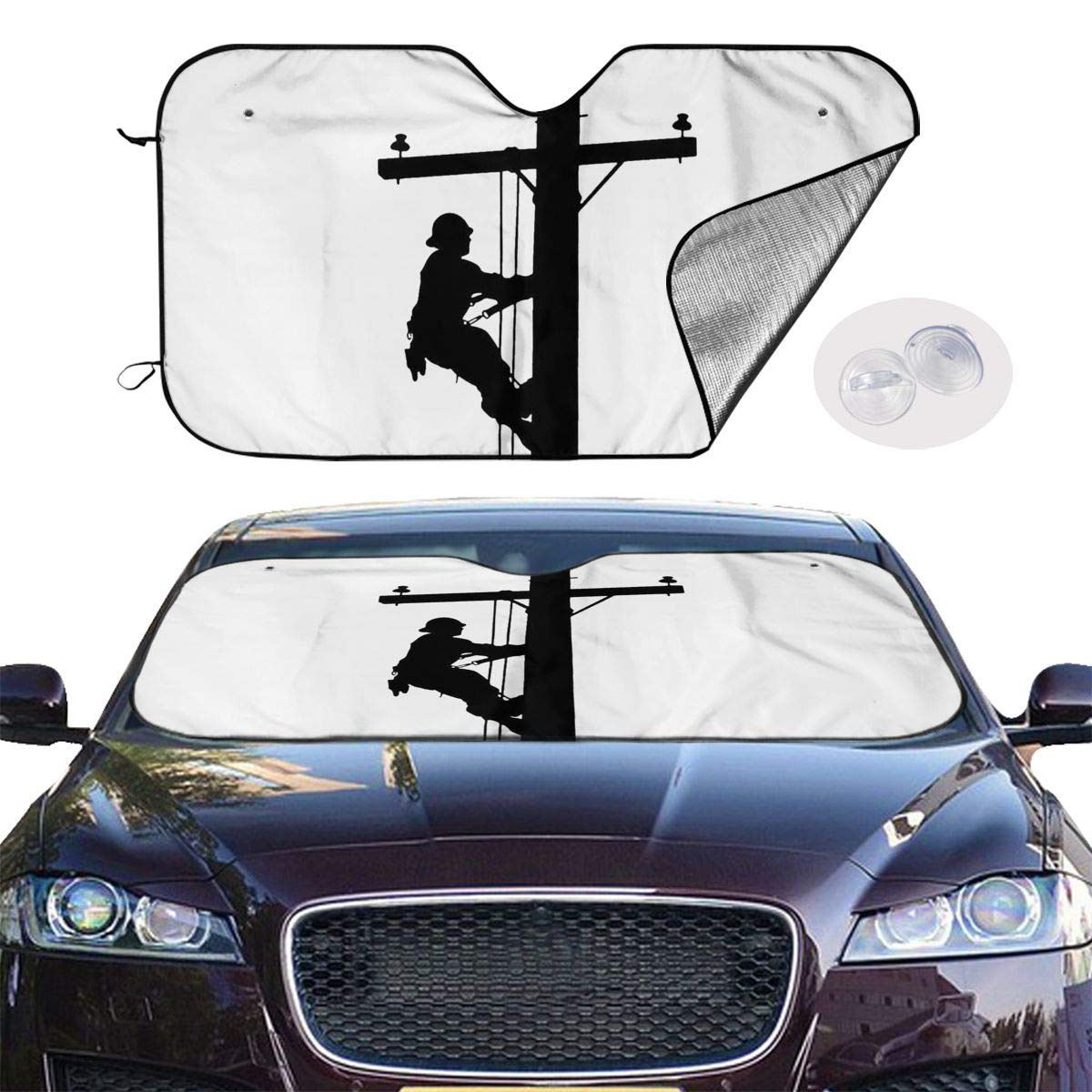 Laxoinh Lineman On A Pole Statue Car Foldable UV Ray Reflector Auto Front Window Sun Shade Visor Shield Cover
