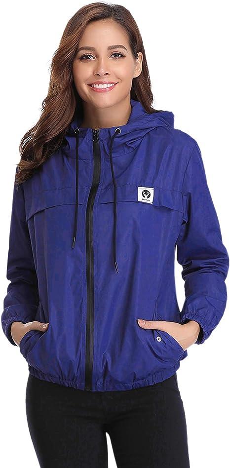Abollria Damen Regenjacke Leichte Kurze Jacke Mit Atmungsaktiv Futter Herbst Wasserdichte übergangjacken Mit Kapuze Amazon De Bekleidung