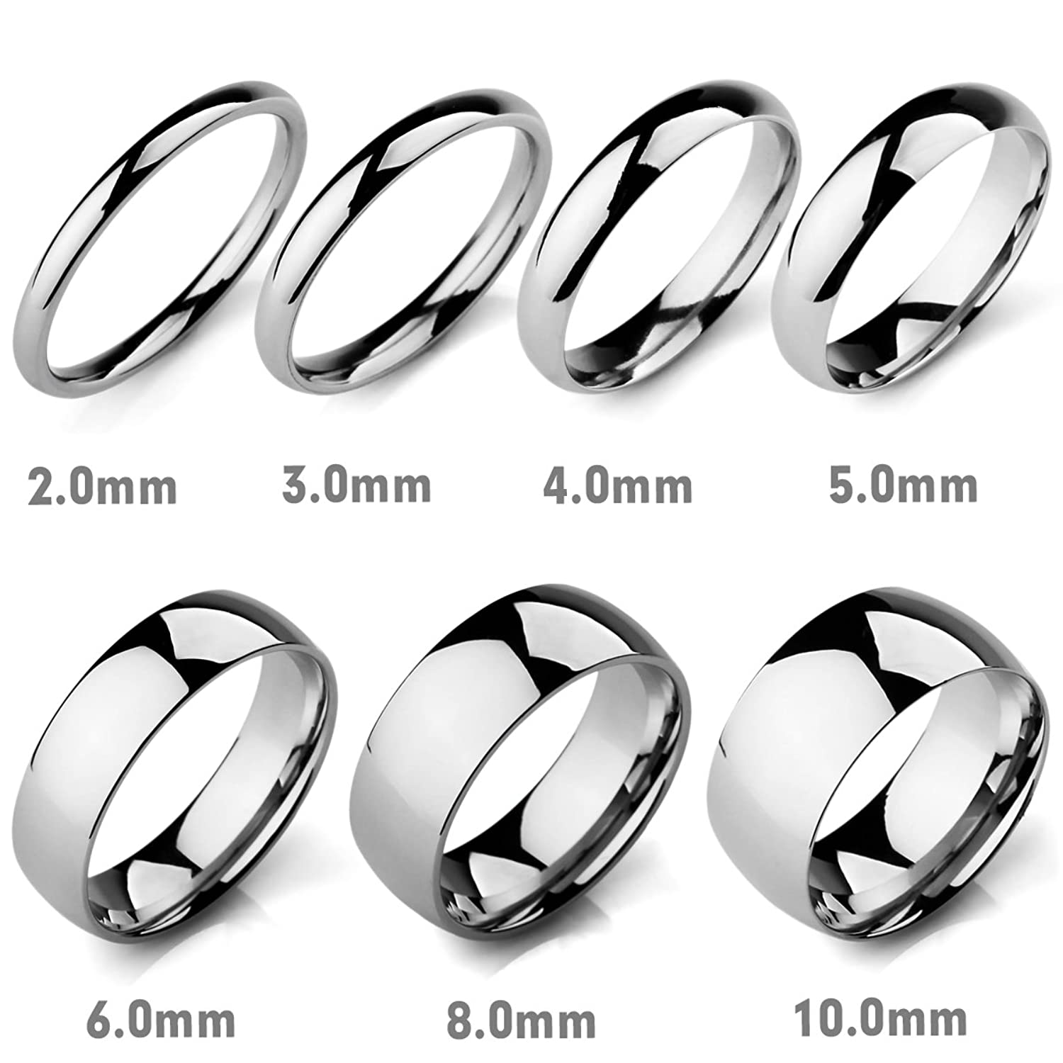 MunkiMix Wide 2mm 10mm Stainless Steel Band Ring Silver Tone