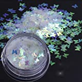Butterfly Holographic Mermaid Nail Glitter Sequins, Ultra-thin Iridescent Flakes Chunky Glitters,Star/Moon/Heart/Round/Flower Nail Paillette(AB06)