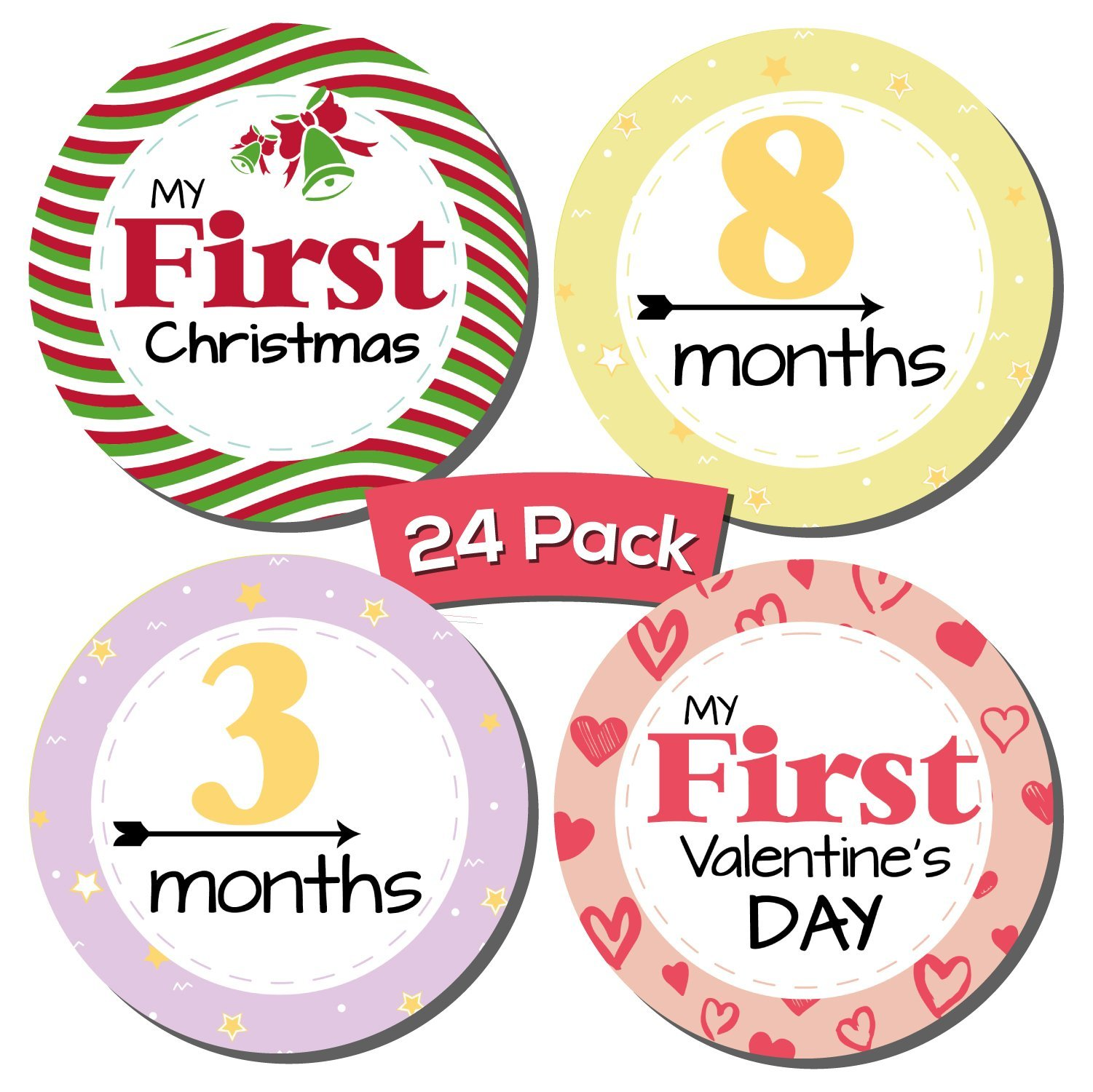 24 Pack Baby Milestone Stickers; Includes 12 Monthly Stickers and 12 First Holidays Stickers, Great Shower Registry Gift or Scrapbook Photo Keepsake by Kinokyo