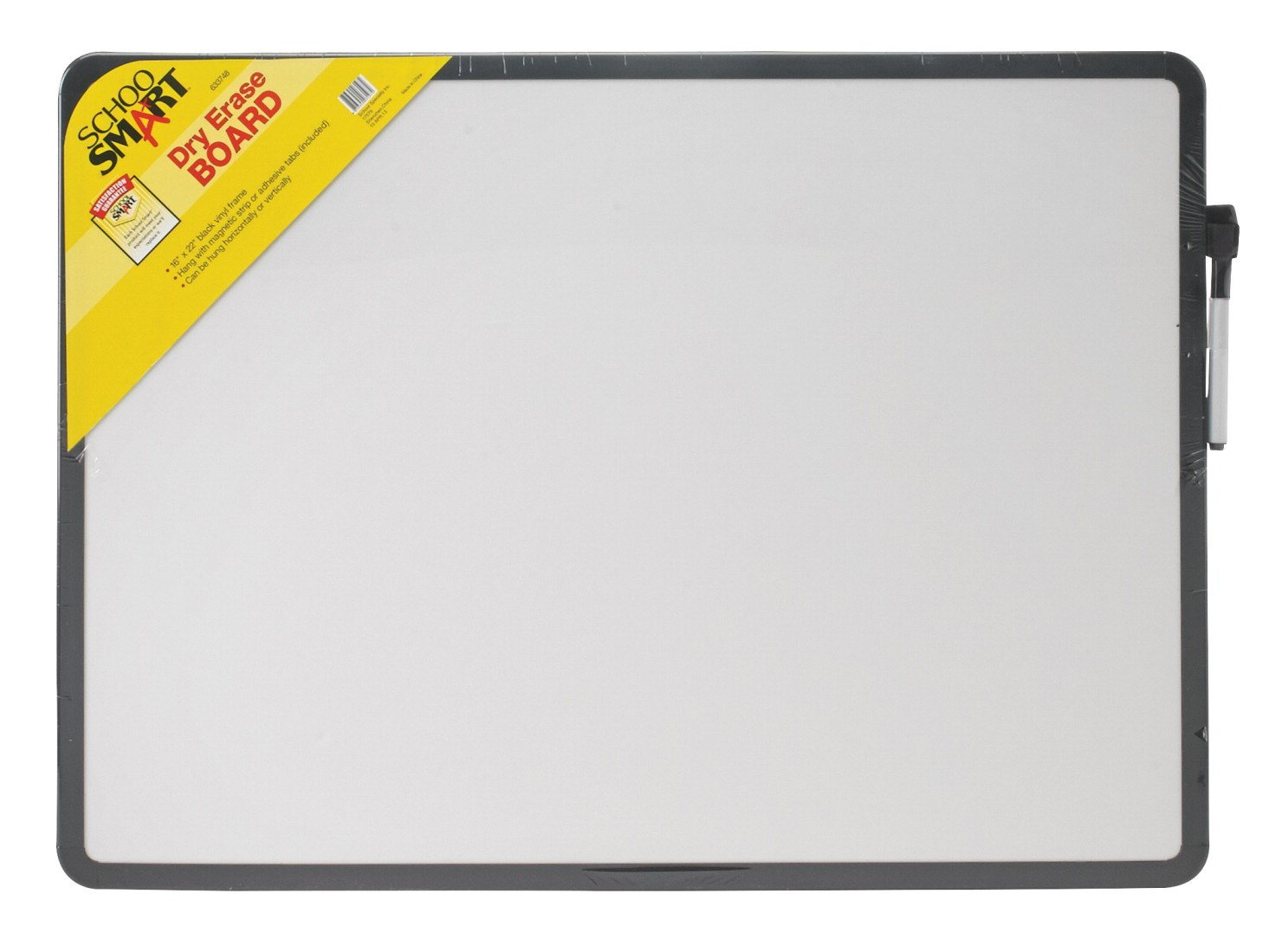 School Smart 633748 Dry Erase Boards - 16 x 22 inches - Black Frame
