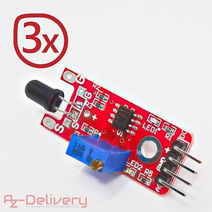 AZDelivery Juego de 3 llama Sensor Módulo Detector de Fuego para