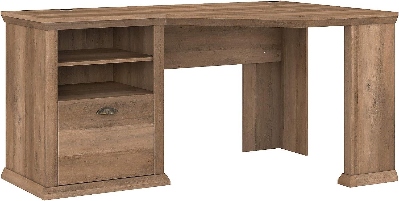 Bush Furniture Yorktown Corner Desk with Storage, 60W, Reclaimed Pine