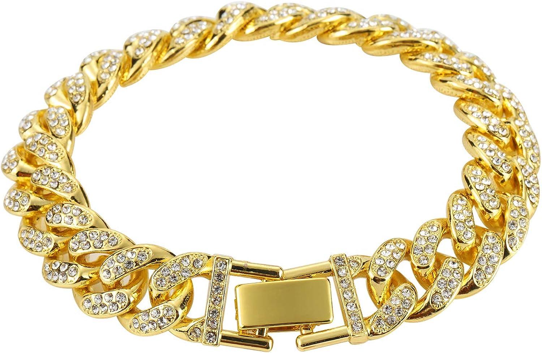 Cuban Link Bracelet 18k Gold Plated Bracelets Iced Out With Bling Rhinestones Men Bracelets Women Bracelets