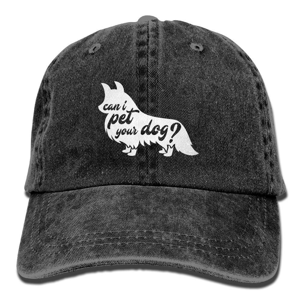 Can I Pet Your Dog Plain Adjustable Cowboy Cap Denim Hat for Women and Men
