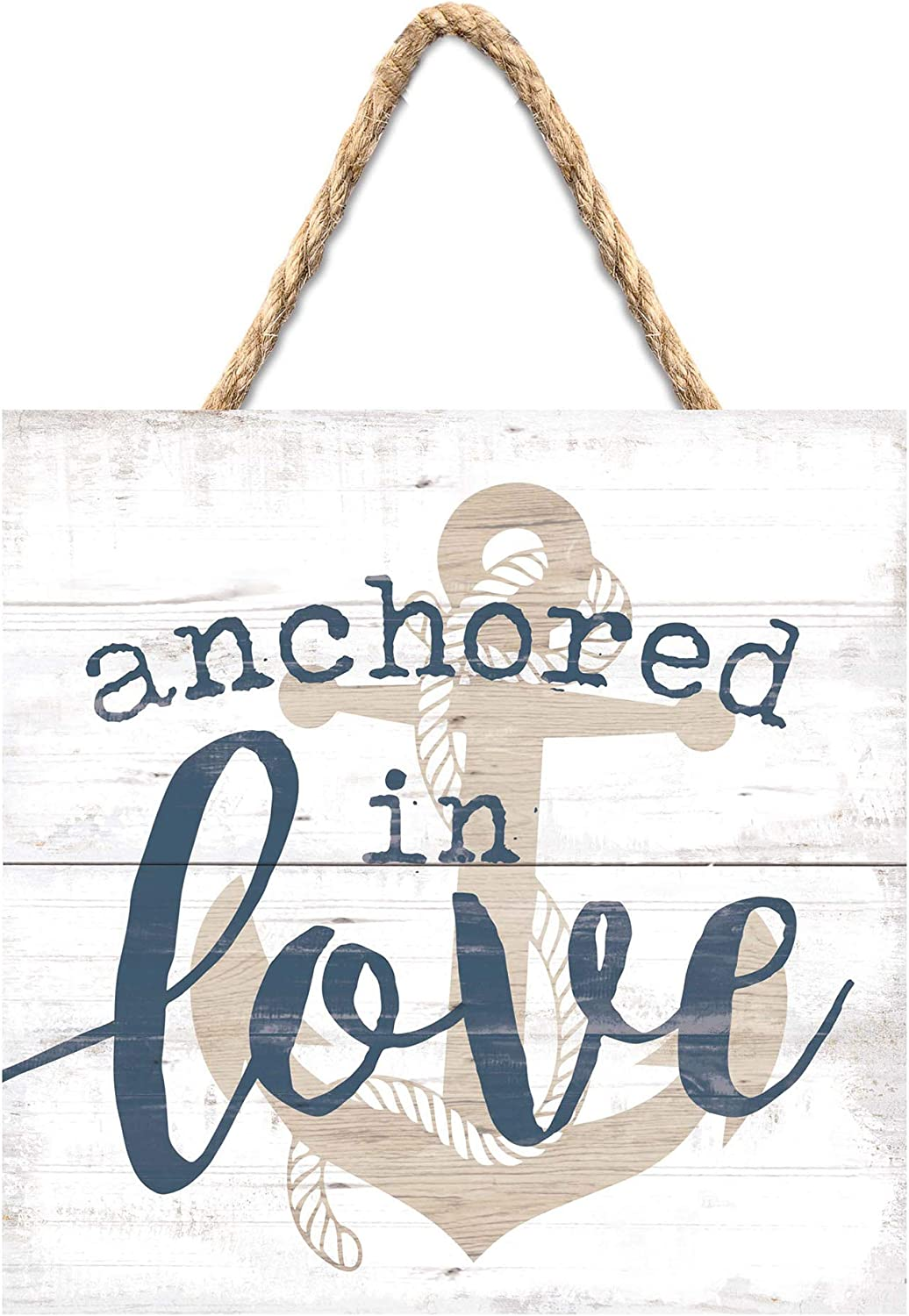 P. Graham Dunn Anchored in Love Nautical Blue 7 x 7 Pine Wood Hanging String Sign Plaque