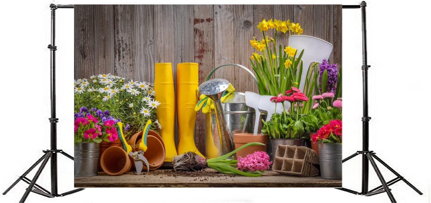 Spring Gardening Photography Background 10x6.5ft Wooden Wall Floor Background Glove Spade Watering Pot Flwoers Gardening Tools Background Wood Floor Texture