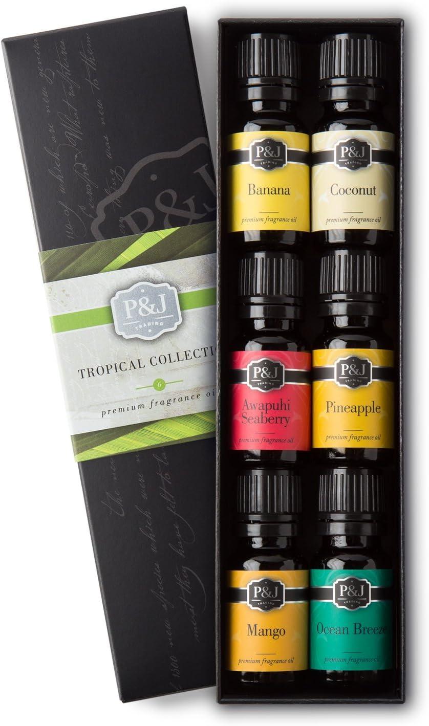Tropical Set of 6 Premium Grade Fragrance Oils - Banana, Coconut, Awapuhi and Seaberry, Pineapple, Mango, Ocean Breeze - 10ml