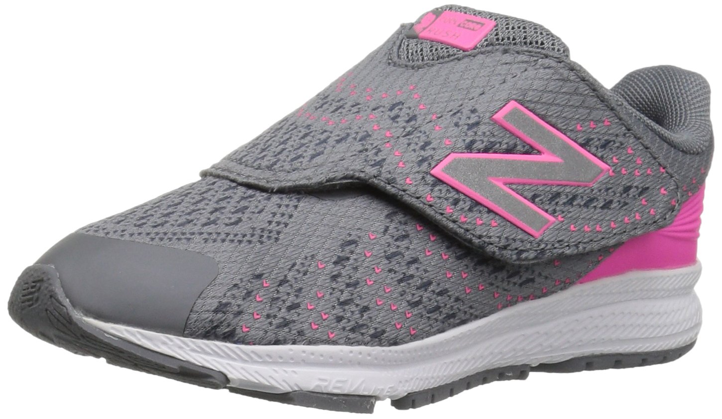 New Balance Girls' Rush v3 Hook and Loop Running Shoe, Grey/Pink, 2 M US Little Kid