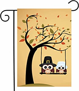 "ShineSnow Lovely Cute Owl Tree Garden Yard Flag 12""x 18"" Double Sided, Yellow Funny Thanksgiving Cartoon Polyester Welcome House Flag Banners for Patio Lawn Outdoor Home Decor"