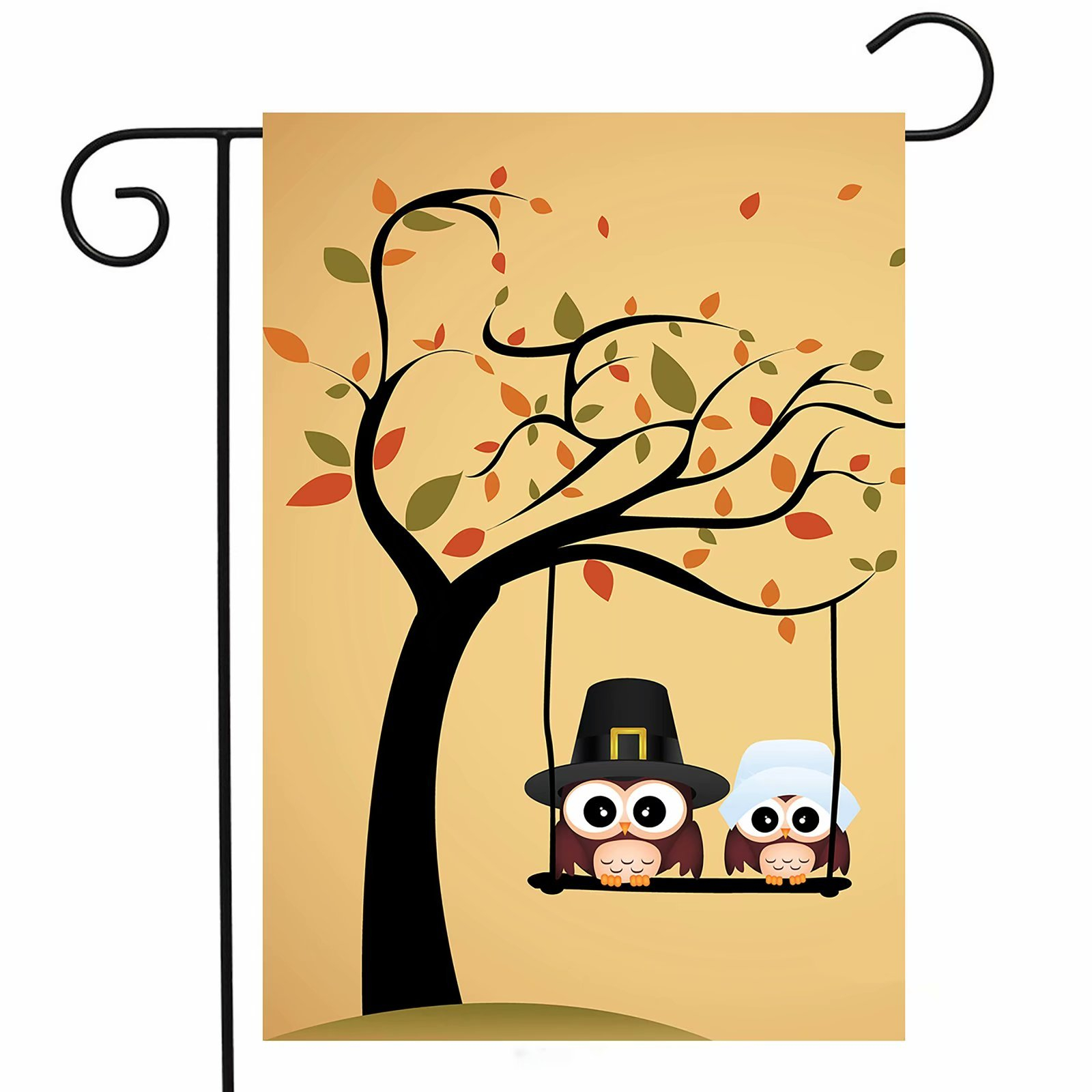 ShineSnow Lovely Cute Owl Tree Garden Yard Flag 12''x 18'' Double Sided, Yellow Funny Thanksgiving Cartoon Polyester Welcome House Flag Banners for Patio Lawn Outdoor Home Decor