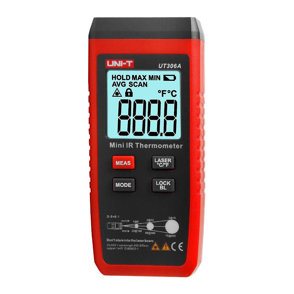 UT306A Mini LCD Infrarouge Thermomè tre -35 ~ 300C -31 ~ 572F Rouge Laser Tempé rature Compteur C / F Pyromè tre